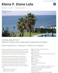 Elena F, Dona Lola Spanish Holiday Apartment website