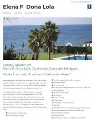 Elena F, Dona Lola Spanish Holiday Apartment website